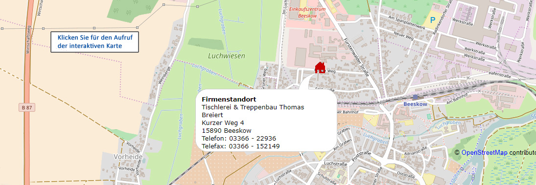 Tischlerei & Treppenbau Thomas Breiert - Für den Aufruf der interaktiven Ansicht klicken Sie auf diese Karte
